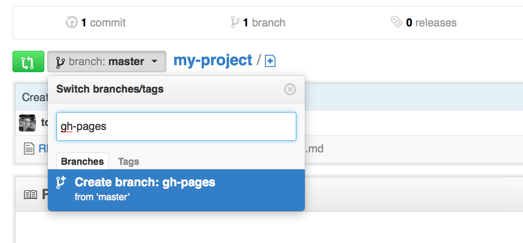 Create a branch named gh-pages